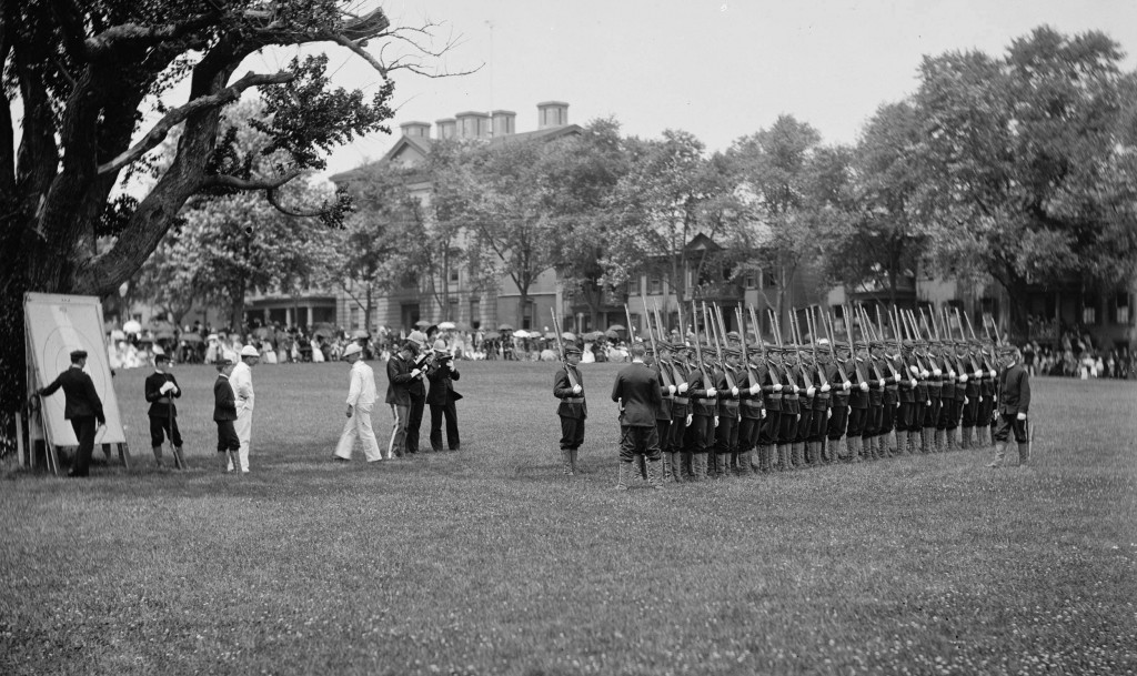 Cadets drilling, U.S. Naval Academy 1890. Click photo for larger version. Source: https://www.loc.gov/item/det1994010421/PP/