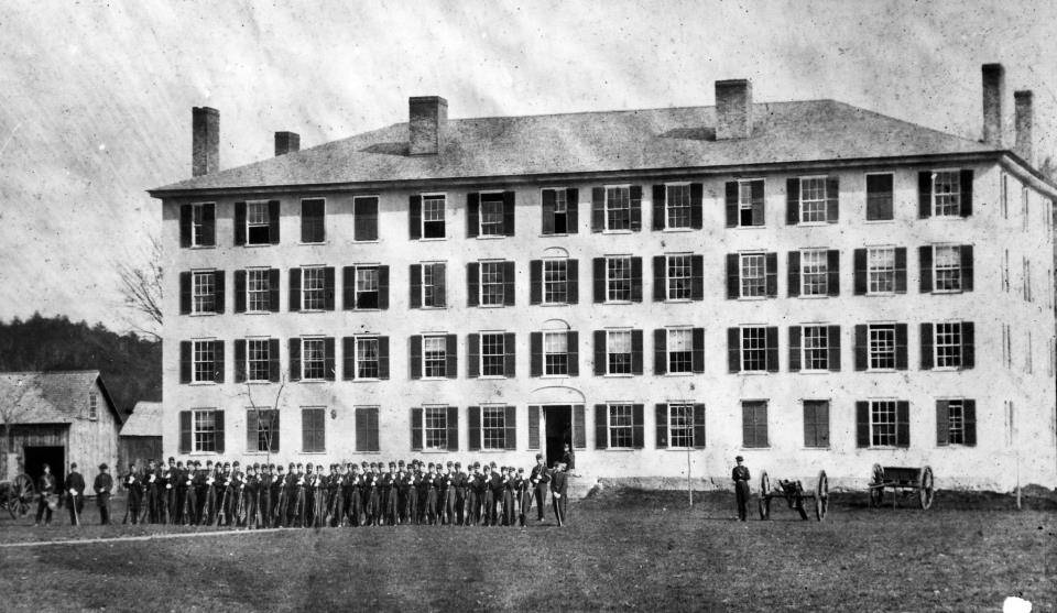 A photo of the Old South Barracks which burned down in 1866. Source: http://randallhmiller.com/toasting-the-old-south-barracks/