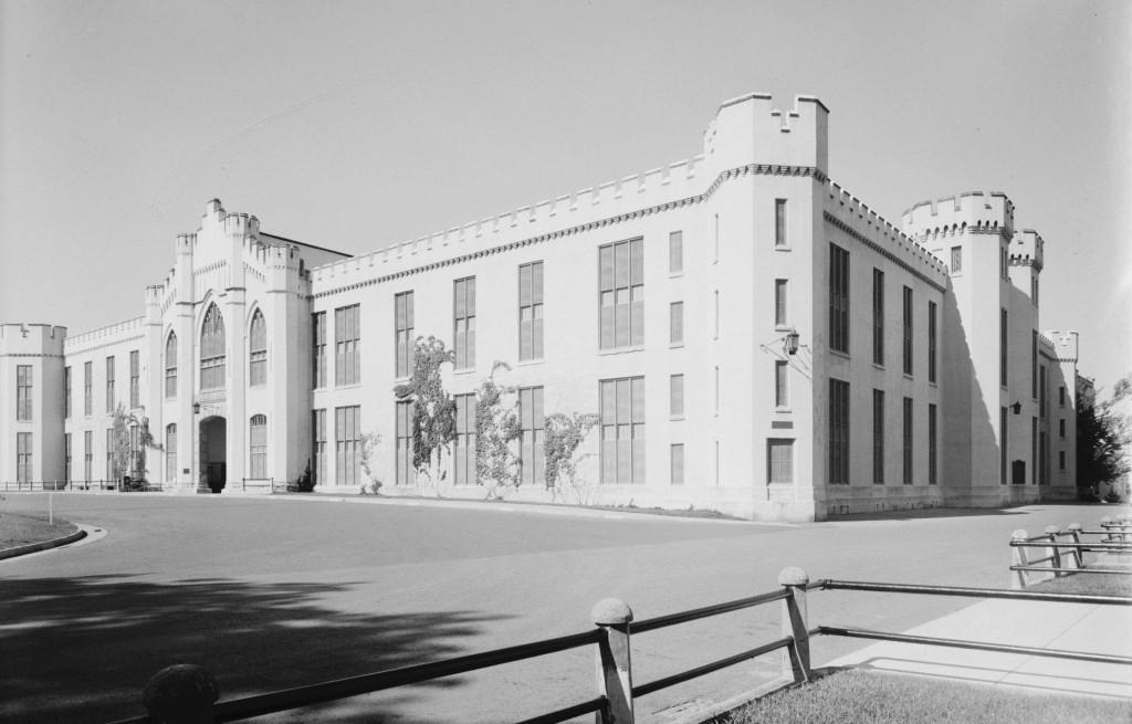 Photo of the Virginia Military Institute Barracks, circa 1930's. Source: https://www.loc.gov/item/va0906/